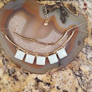 LC light green square tier necklace GUC